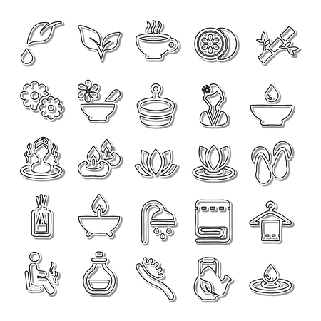 swimming candles: Spa line icon set