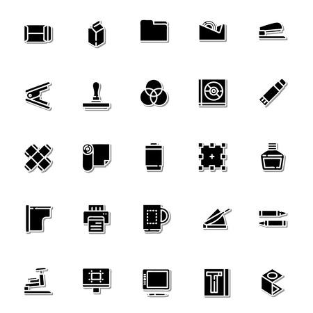 color registration: Print icon set
