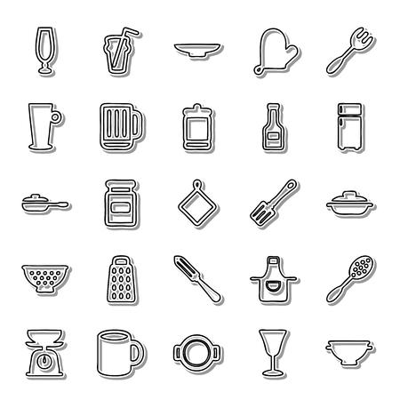 housewares: Housewares line icon set Illustration