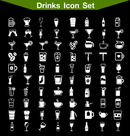 whie wine: Drinks icon set