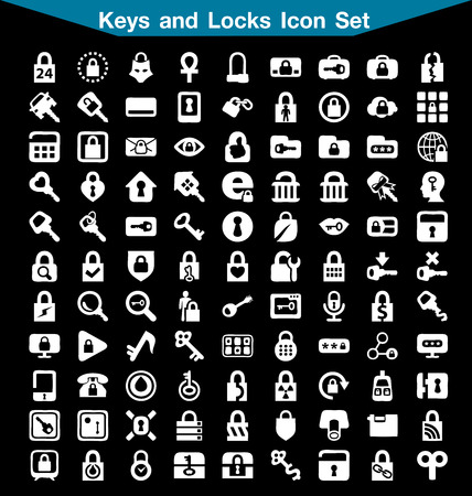 lock and key: Key and Lock icon set