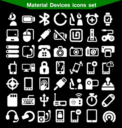 material: material Devices icon set Illustration