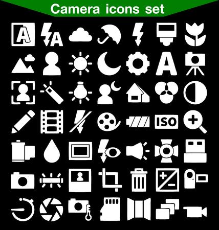 polarizing: Camera icon set Illustration