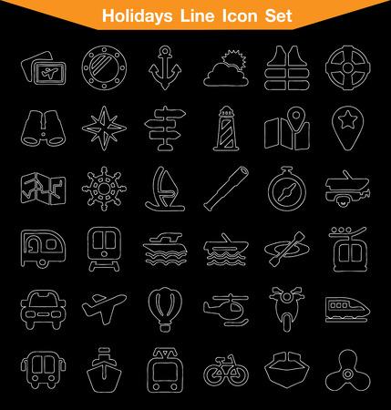 mini bar: Holiday Line icon set Illustration