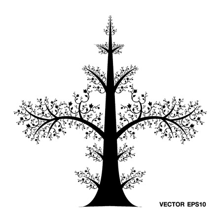 Tree Art Line Thai Vector Eps