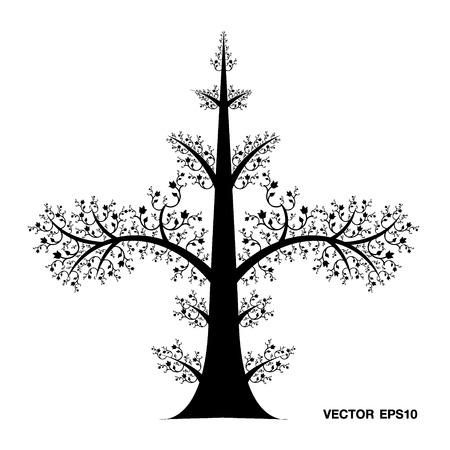 family gardening: Tree Art Line Thai Vector Eps