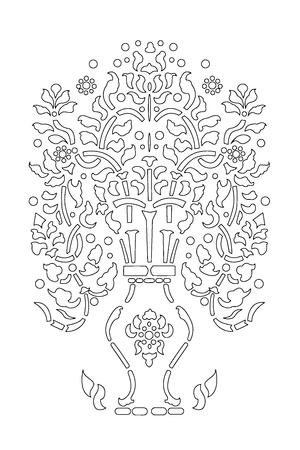 Tree Art Line Thai Vector Eps