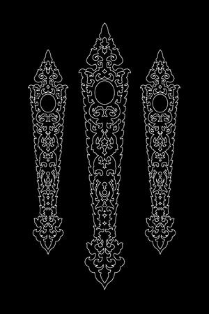 Black Flag of tung art line thai vector eps