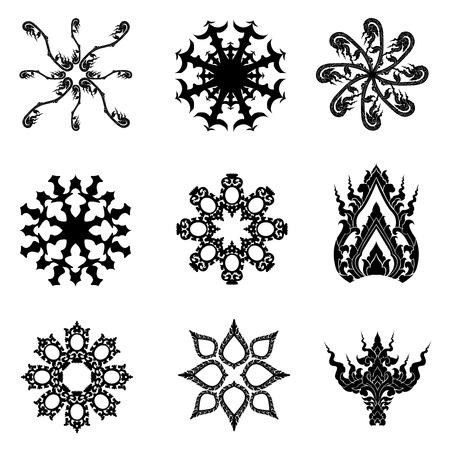 Pattern thai art vector icon set Ilustração