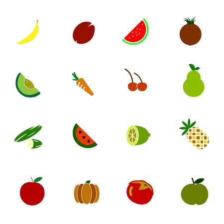 Vegetable And Fruit icon color set Ilustração