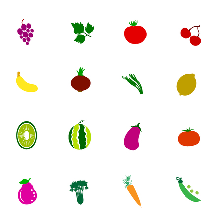Vegetable And Fruit icon color set 일러스트