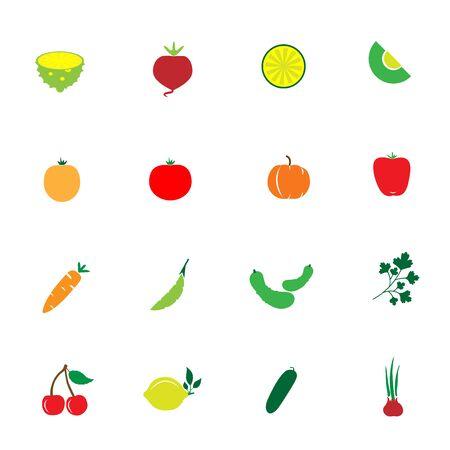 Vegetable and fruit icons set for design work, vector illustration Ilustração