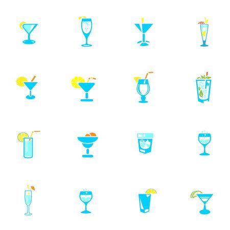 Drink icons set for design work, vector illustration
