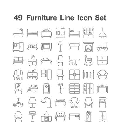 49 Fureiture Line Icon set Ilustracje wektorowe