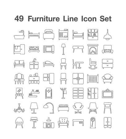 49 Fureiture Line Icon set Ilustración de vector