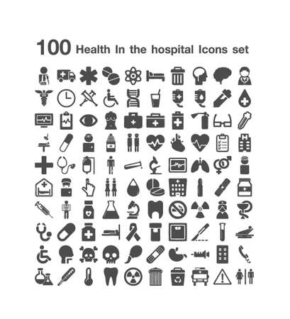 100 Health ans hospital icon set