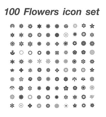 100 Flowers icon set