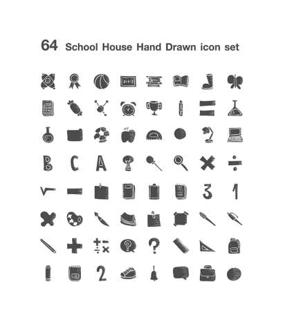 64 School House icon set