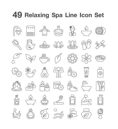49 Relaxing spa icon set