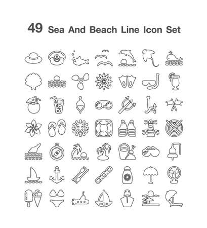 49 Sea and Beach icon  set Illusztráció