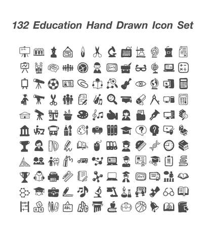 132 Eduction Hand Drawn icon  set Illusztráció