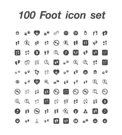 100 Foot icon  set