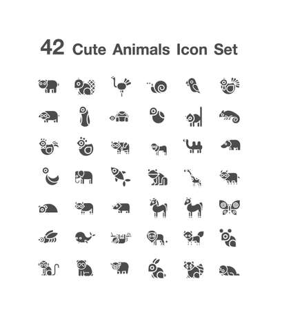 42 Cute Animals icon  set