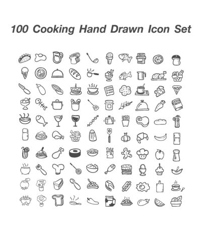 100 Cooking Hand Drawn icon set