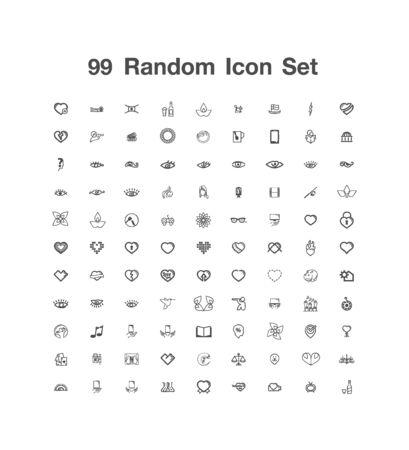 99 Random icon set 일러스트