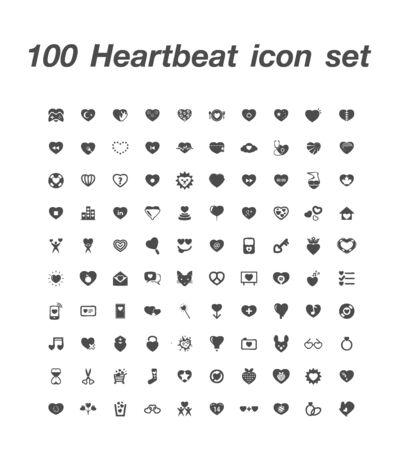 100 Heartbeat icon set