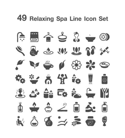 49 Relaxing spa line icon set 일러스트