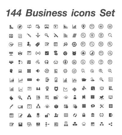 144 Business icon set 일러스트
