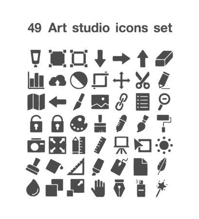 49 Art Studio icon set 일러스트