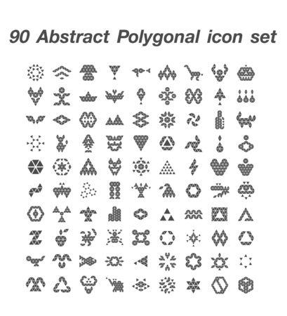 90 Abstract Polygonal icon set