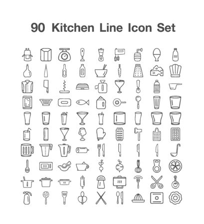90 Kitchen Line icon set