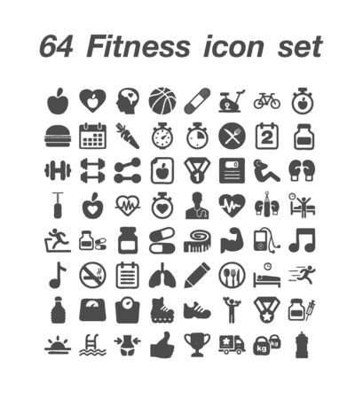 64 Fitness icon set 일러스트