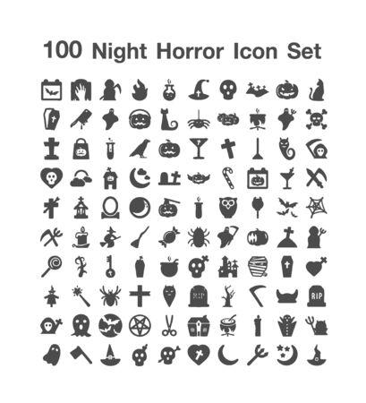 100 Night Horror icon set