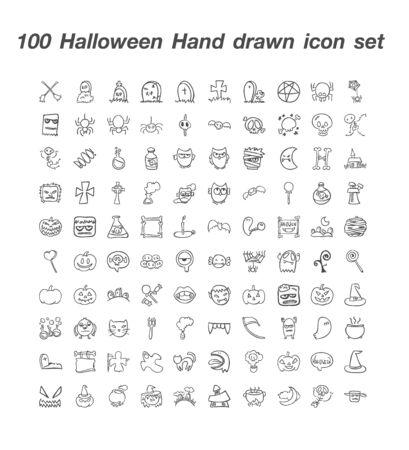 100 Halloween Hand Drawn Icon Set