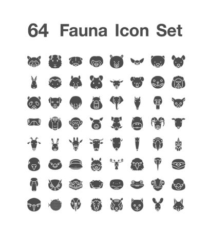 64 Fauna icon set
