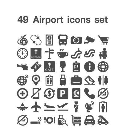 49 Airport icon set 일러스트