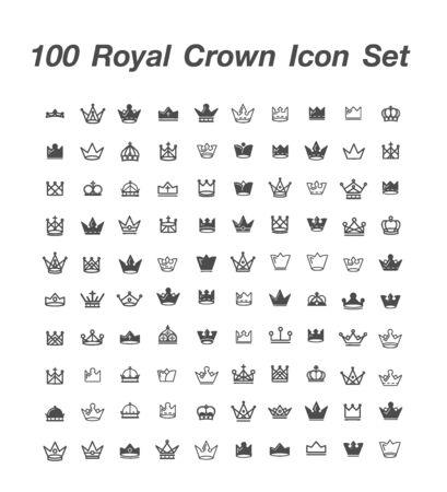 100 Royal Crown icon set