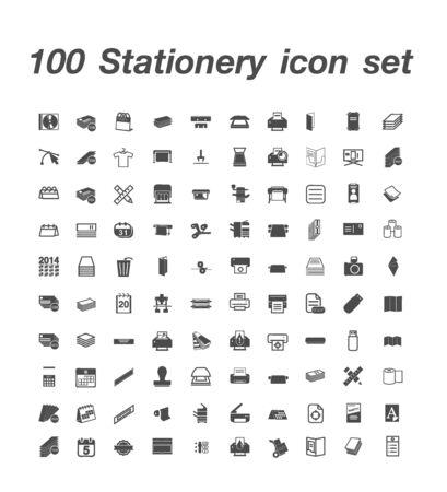 100 Stationery icon set 일러스트