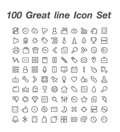100 Great line icon set 일러스트