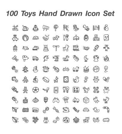 100 Toy hand  Drawn icon set