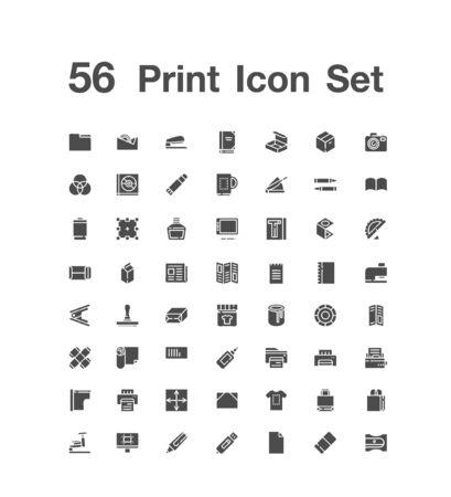 56  Print icon set