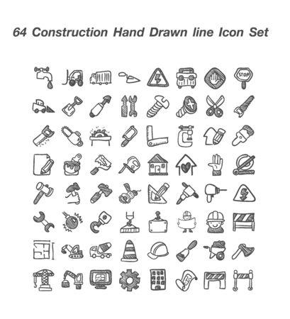 64 Construction hand  Drawn icon set