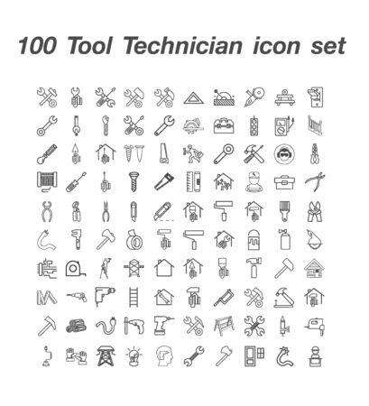 100 Tool Technician icon set