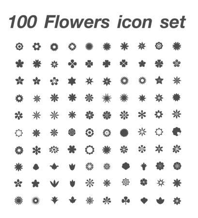 100 Flower icon set 일러스트