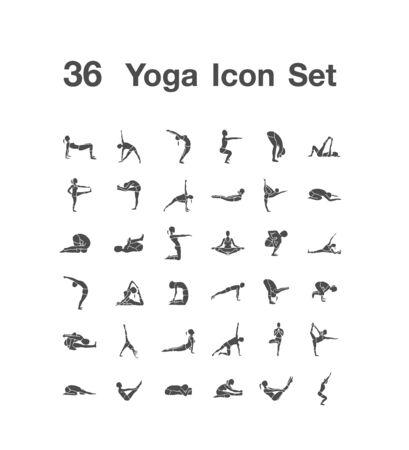 36 Yoga icon set 일러스트