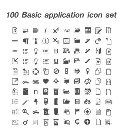 100 Basic application icon set 일러스트